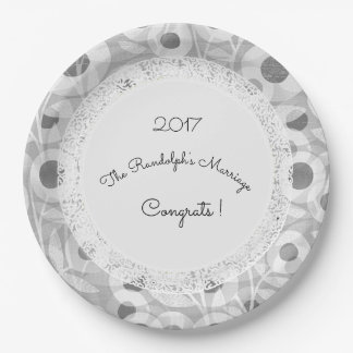 Wedding+Mod+Lace-Floral_Gray-Template-Name 9 Inch Paper Plate