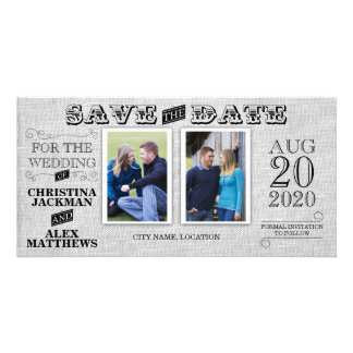 Wedding Modern Vintage Save The Date 2 Photo Personalised Photo Card
