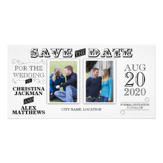 Wedding Modern Vintage Save The Date 2 Photo Picture Card