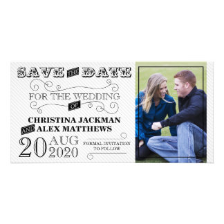 Wedding Modern Vintage Save The Date Photo Picture Card