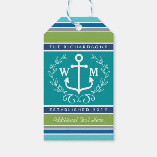 Wedding Monogram Anchor Laurel Wreath Aqua Stripes