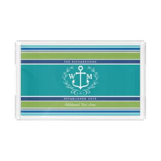 Wedding Monogram Anchor Laurel Wreath Aqua Stripes