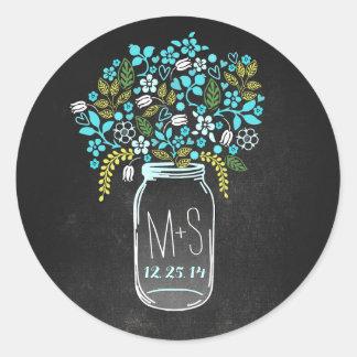 wedding monogram and date mason jar stickers