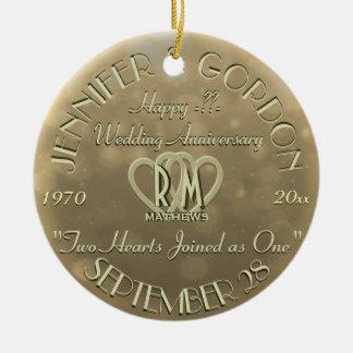 Wedding Monogram Anniversary Gold Color Christmas Ornament