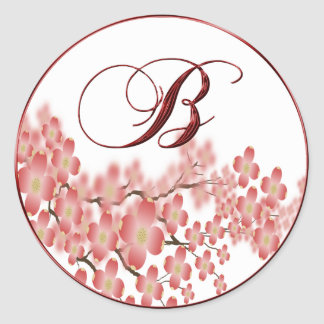 Wedding Monogram B Dogwood Design Envelope Seal Round Sticker