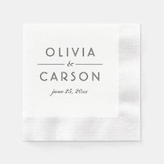 Wedding Monogram | Black and White Disposable Napkin