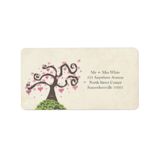 Wedding Monogram Blossom Tree Return Address Label