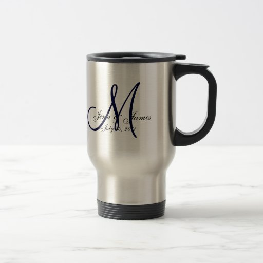 Wedding Monogram Bride Groom Date Navy Travel Mug