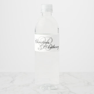 Wedding Monogram Custom Water Bottle Label