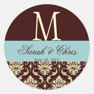 Wedding Monogram Damask Brown Blue Ivory Seal Round Sticker