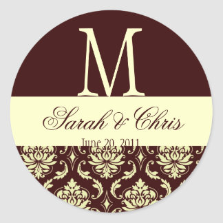 Wedding Monogram Damask Brown Ivory Seal Round Sticker