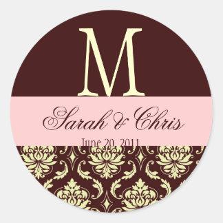 Wedding Monogram Damask Brown Pink Ivory Seal Round Sticker