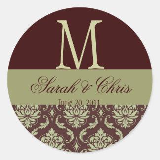 Wedding Monogram Damask Brown Taupe Seal Round Sticker