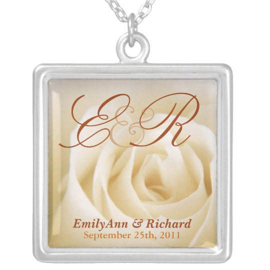 Wedding Monogram - Elegant Ivory Rose Pendant