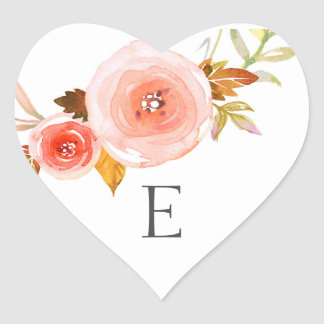 Wedding monogram envelope seals / blush floral heart sticker