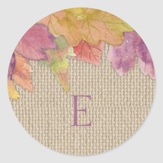 Wedding monogram envelope seals / fall leaf 3973