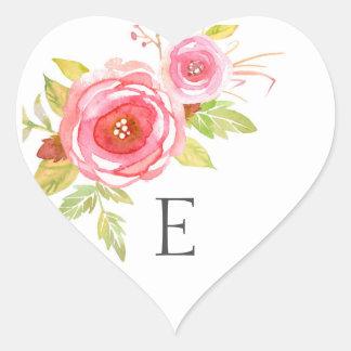 Wedding monogram envelope seals, pink floral 3605 heart sticker