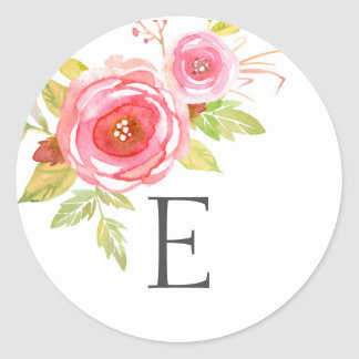 Wedding monogram envelope seals / pink floral round sticker