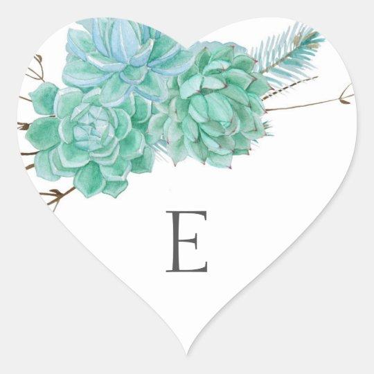 Wedding monogram envelope seals / succulent 3961