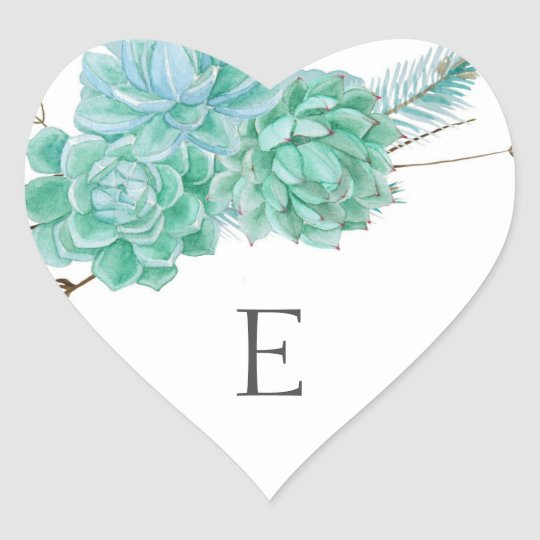 Wedding monogram envelope seals / succulent 3961 heart sticker