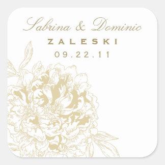 Wedding Monogram Favor Sticker | Gold Peony