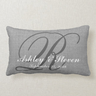 Wedding Monogram Grey Rustic Linen Look Lumbar Cushion