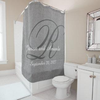 Wedding Monogram Grey Rustic Linen Look Shower Curtain
