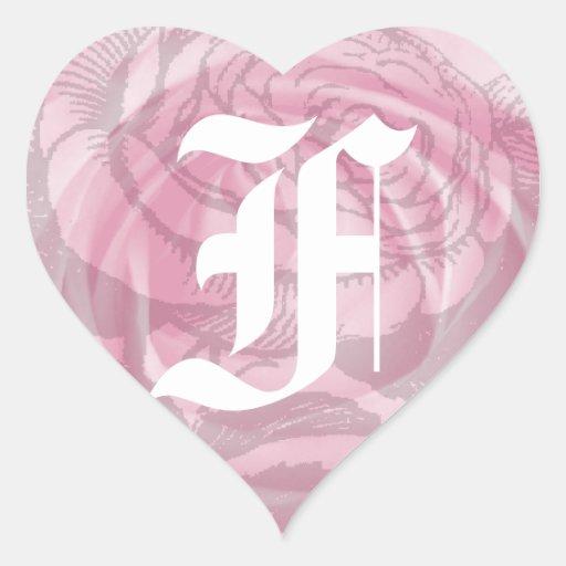 Wedding Monogram Letter F Pink Rose Sticker | Zazzle