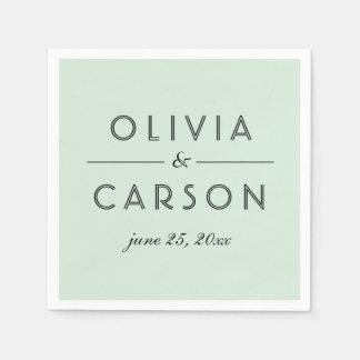 Wedding Monogram | Mint Green Disposable Serviette