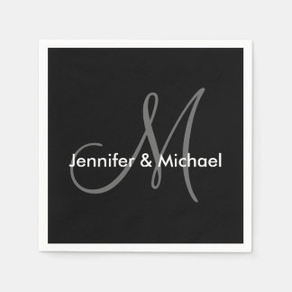 Wedding Monogram Names Black White Grey Disposable Napkin