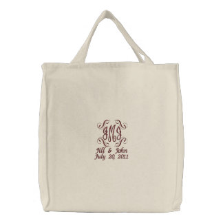 Wedding Monogram Names Date Announcement Tote Bag