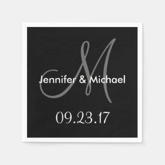 Wedding Monogram Names Date Black White Grey Paper Serviettes