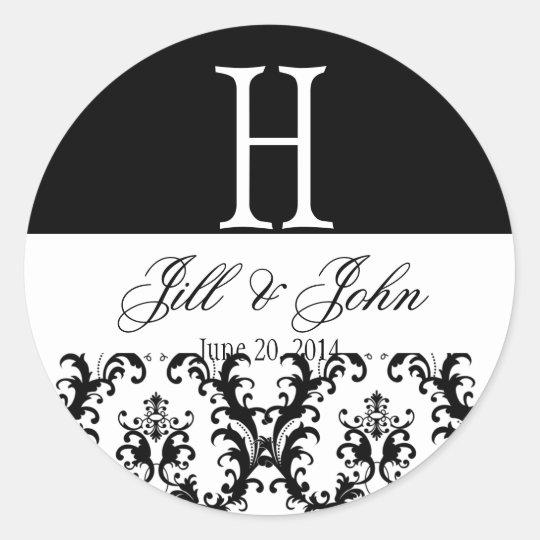 Wedding Monogram Names Date Damask Black White Round Sticker