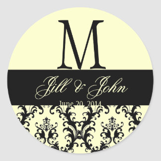 Wedding Monogram Names Date Damask Ivory Seal Round Sticker