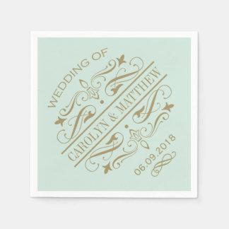 Wedding Monogram Napkins | Antique Gold Flourish Paper Napkin