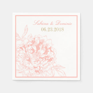 Wedding Monogram Napkins | Coral Peony Design Disposable Serviettes