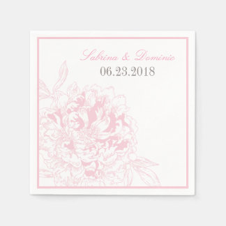 Wedding Monogram Napkins | Pink Peony Design Disposable Serviette