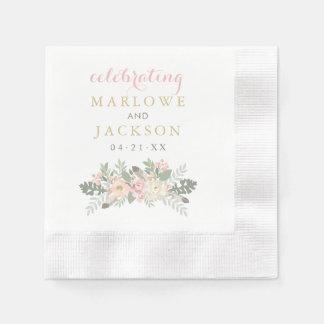 Wedding Monogram Napkins | Spring Vintage Boho Paper Napkin