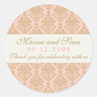 Wedding Monogram | Pink and Champagne Damask Classic Round Sticker