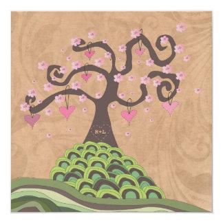 Wedding Monogram Pink & Green Blossom Tree Invite
