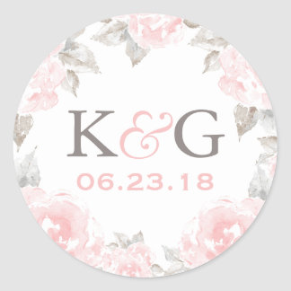 Wedding Monogram | Pink Watercolor Roses Classic Round Sticker