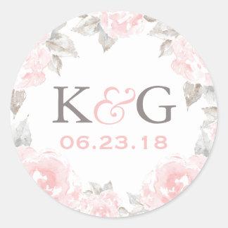 Wedding Monogram   Pink Watercolor Roses Round Sticker