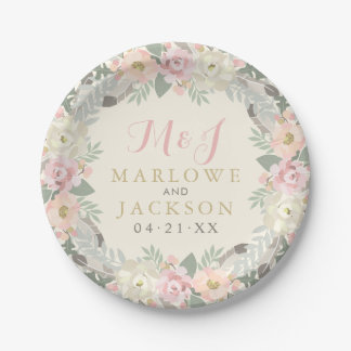 Wedding Monogram Plates | Spring Boho Florals