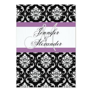 Wedding Monogram Purple Damask Invitation Back