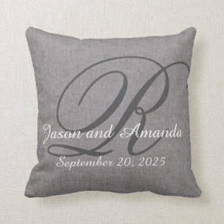 Wedding Monogram Rustic Grey Linen Look Cushion