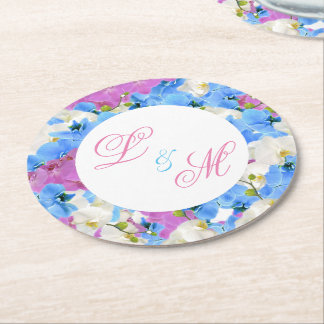 Wedding Monogram Tulips Floral Paper Drink Coaster