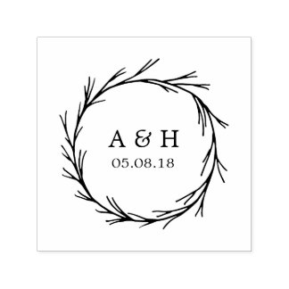 Wedding Monogram Wreath Self Inking Stamp