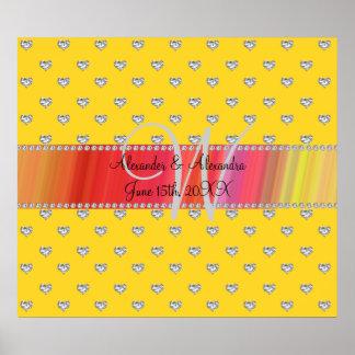 Wedding monogram yellow diamonds hearts posters