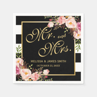 Wedding Mr. and Mrs. Floral Gold Frame Stripes Disposable Napkins