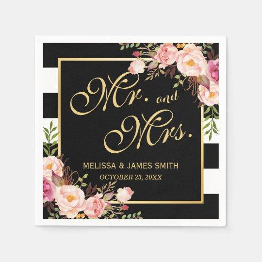 Wedding Mr. and Mrs. Floral Gold Frame Stripes